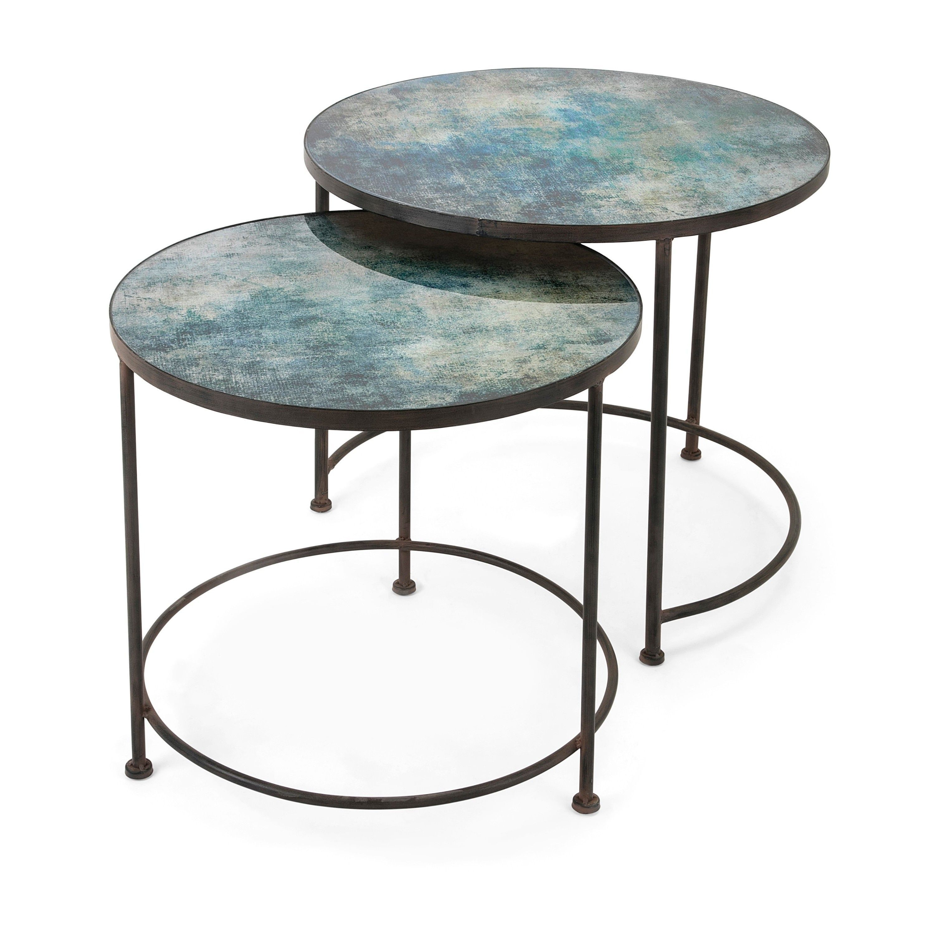 Paxton Metal And Printed Glass Accent Tables Set Of 2 Assembled 3 And 4 Legs Black N A Coffee Table Marble Coffee Table Set Marble Round Coffee Table [ 3002 x 3002 Pixel ]