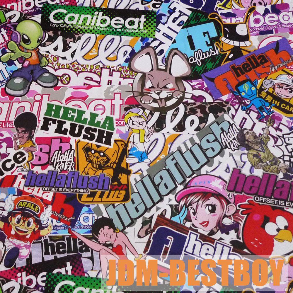 """24""""x60"""" JDM USDM Hellaflush Graffiti StickerBomb Vinyl"""