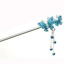 $5.37 Sweet Rhinestoned Butterfly Embellished Tassels Hair Stick For Women