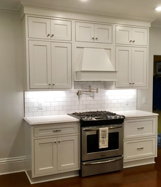Gentil Showplace Cabinetry: White Paint With Pewter Glaze Concord Inset Door Style  With Five Piece Drawer Header
