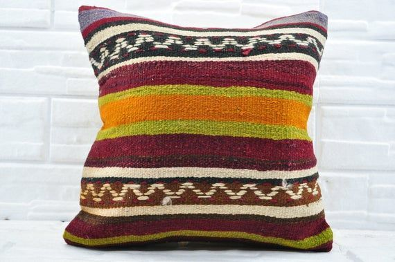 Sofa pillow Patterned Kilim Pillow Turkish kilim pillow Bohemian pillow 20x20 Decorative kilim pillow Pillow cover bedroomNo 1403  Sofa pillow Patterned Kilim Pillow Turk...