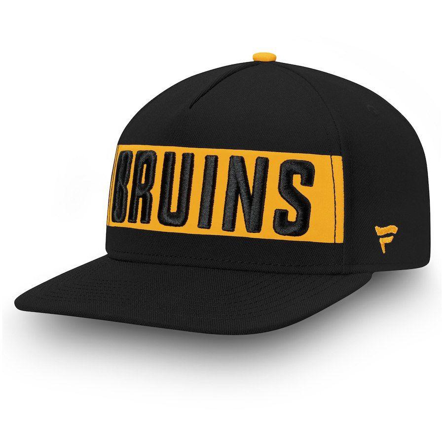 914bd626744 Men s Boston Bruins Fanatics Branded Black Iconic Facing Emblem Adjustable  Snapback Hat