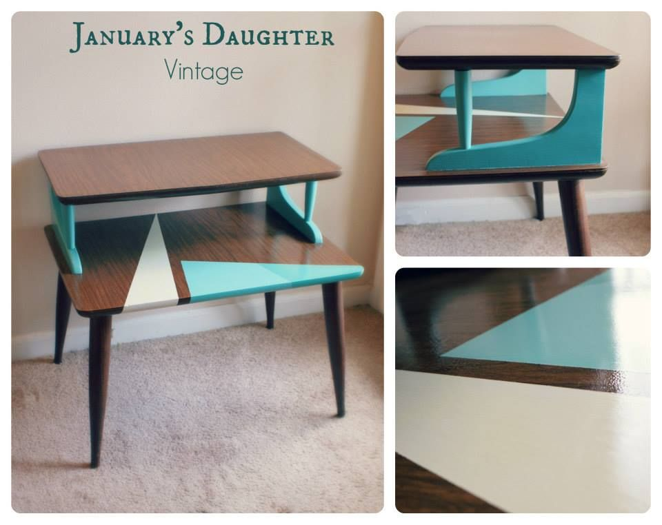 Fun Mid Century Modern Side Table Painted With A Geometric Pattern In Cream And Two Tone Aqua