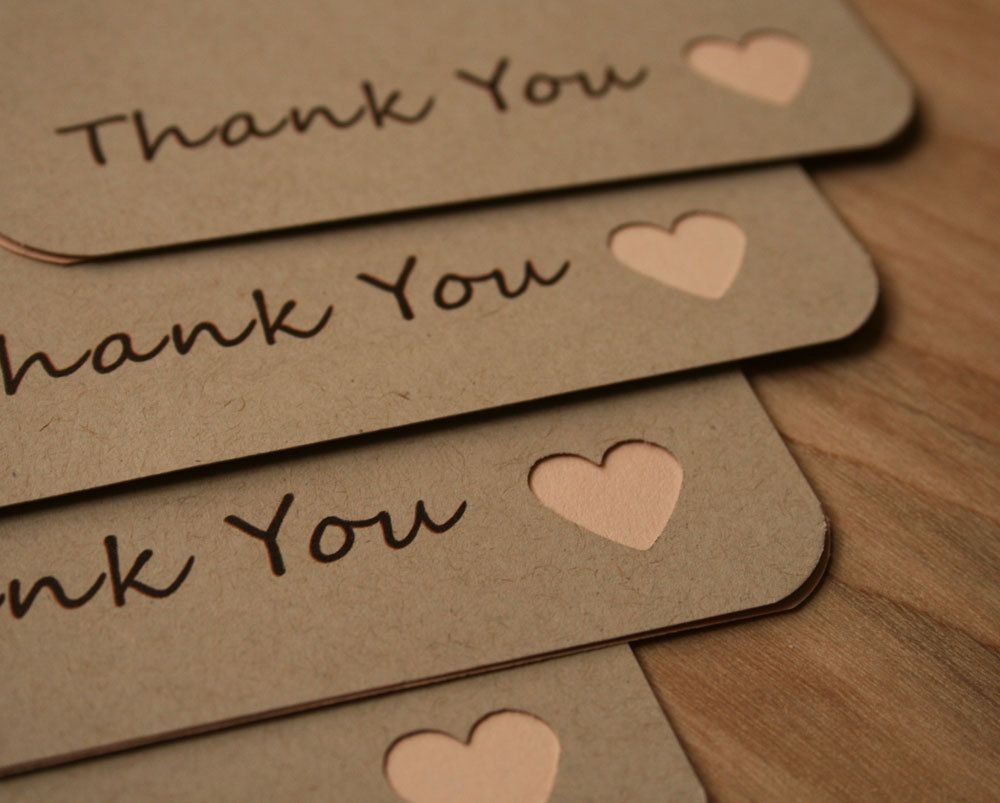 Thank You Flat Note Cards  Peach Heart Accent  Thank You Card