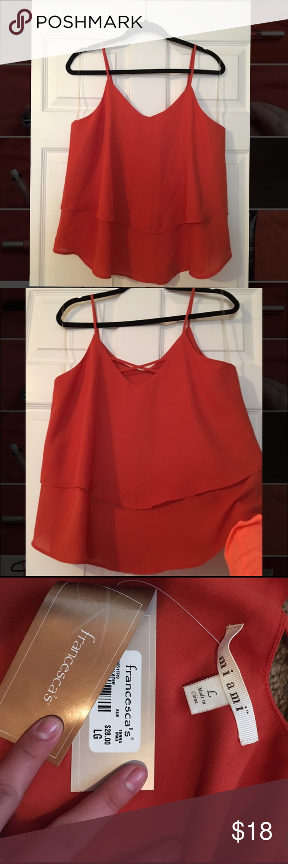 Burnt Orange Tank from Francesca's (NWT!!) Brand new, selling cause it's too big on me. Fits true to size and looks good year round, isn't see through or anything and is in perfect condition! Francesca's Collections Tops Tank Tops