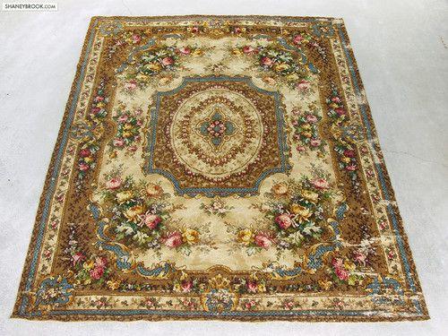 9x11 Antique Floral Cabbage Rose Victorian Oriental Wool