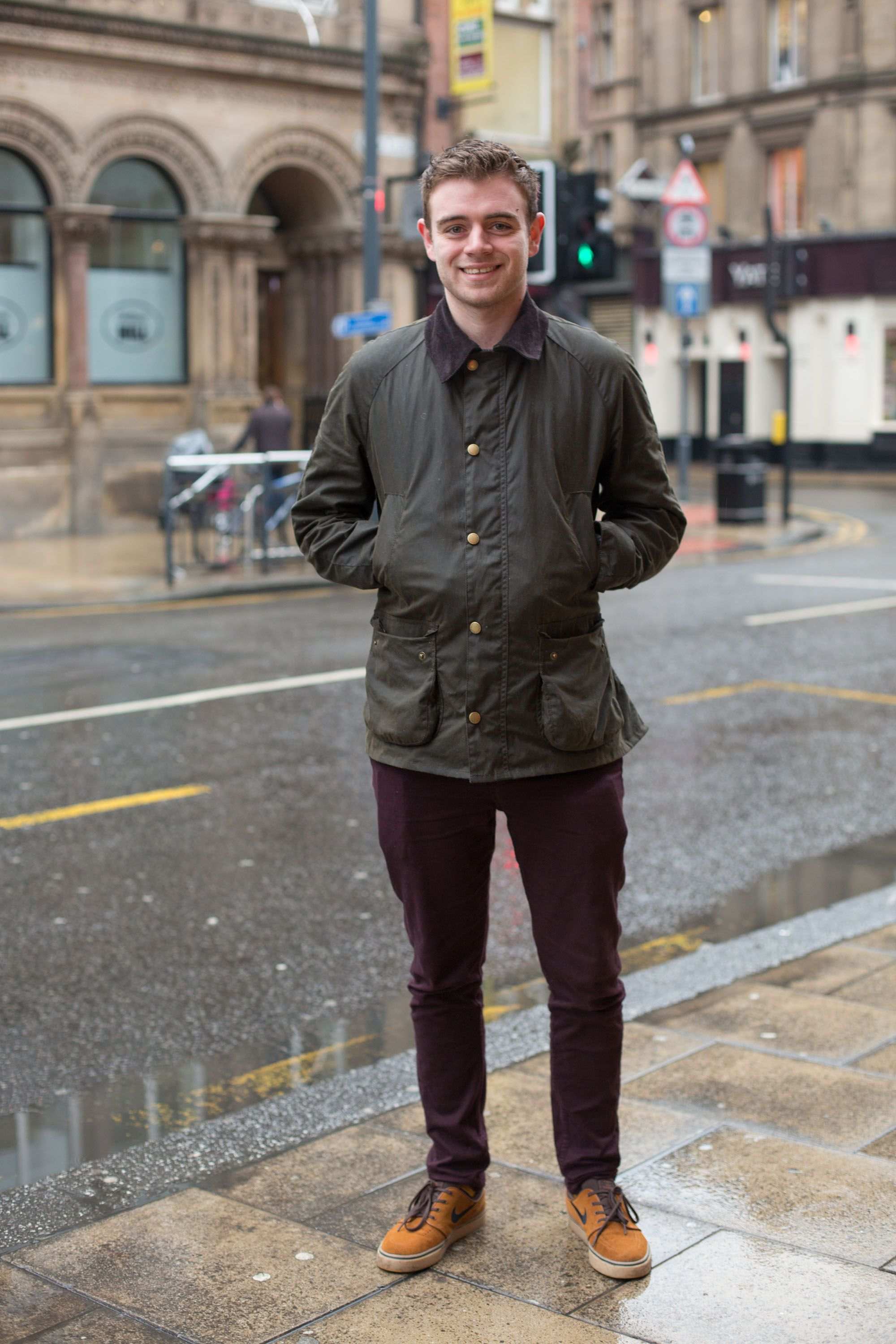 We Spotted David On Wet Afternoon In Leeds Wearing His Barbour