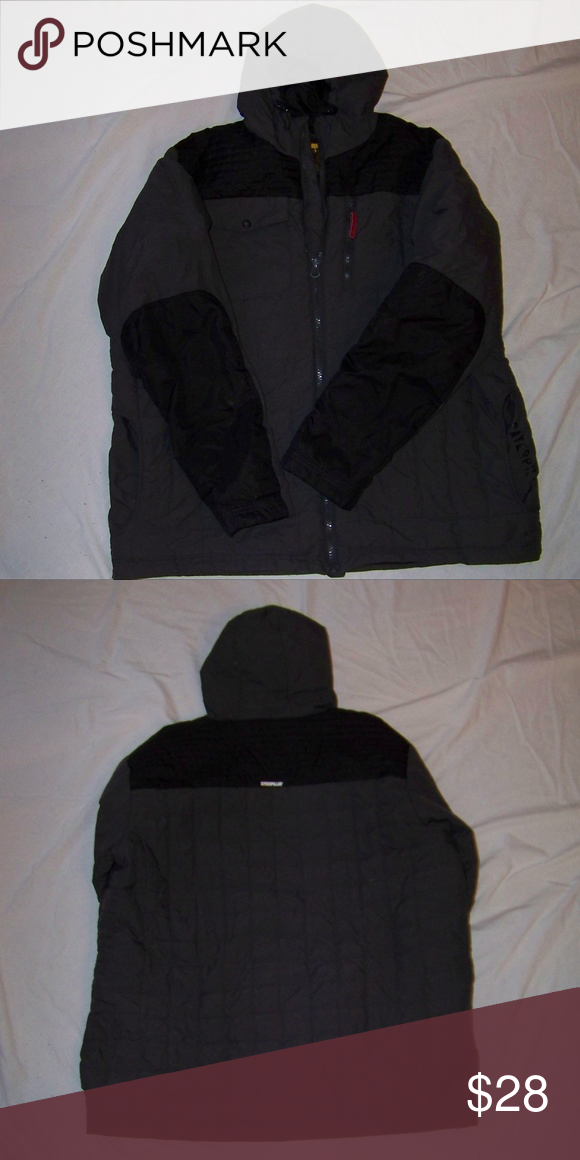Mens Gray Black Caterpillar Hooded Jacket Shoulder To