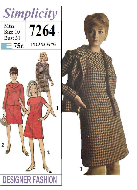 Simplicity 7264 Misses 60s A Line Dress And Jacket Sewing Glam X
