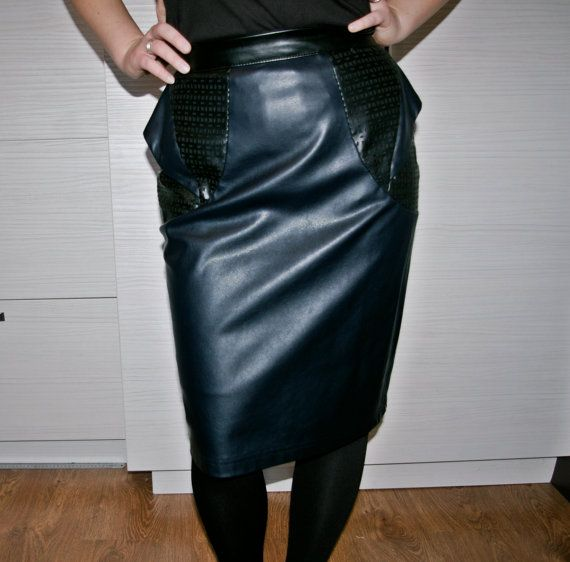 Dark Blue faux leather pencil skirt / Navy Blue fake leather ...