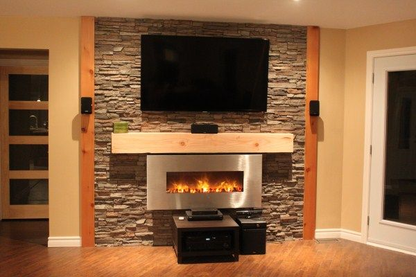 Fireplace Wall Douglas Fir Mantle And Trim Stone Wall
