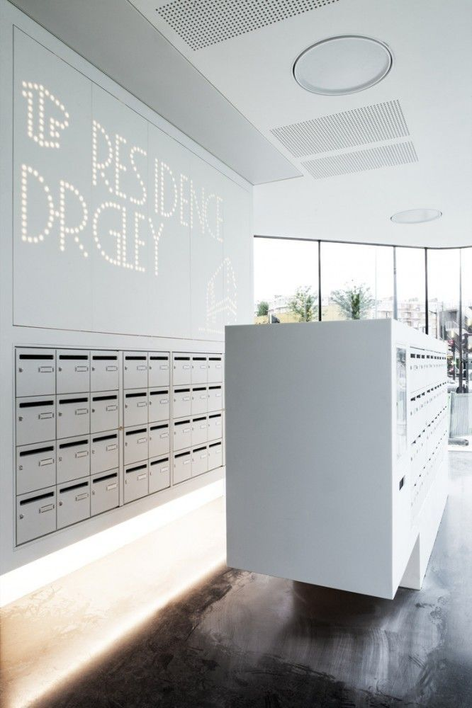 Custom Furniture Mailboxes Wall Mounted White Finish 架空层 Impressive Mailroom Furniture Exterior