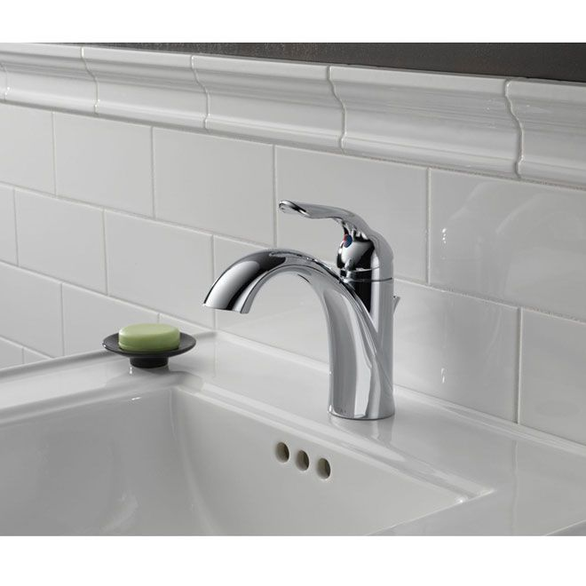 Delta Lahara single bathroom faucet... has a red/blue dot under ...