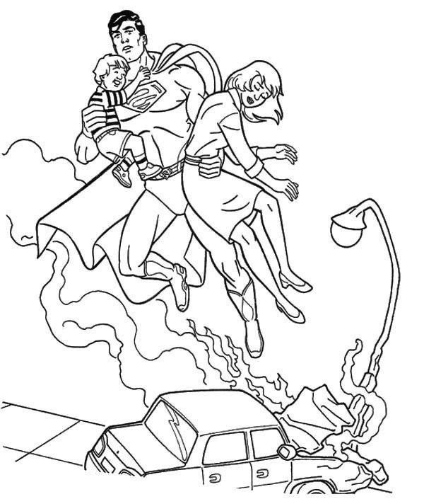 Superman Saves People Coloring Page | Superman | Pinterest