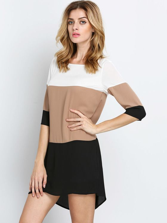 5cc4703078ab Online shopping for White Coffee Black Color Block Dress from a great  selection of women s fashion clothing   more at MakeMeChic.COM.