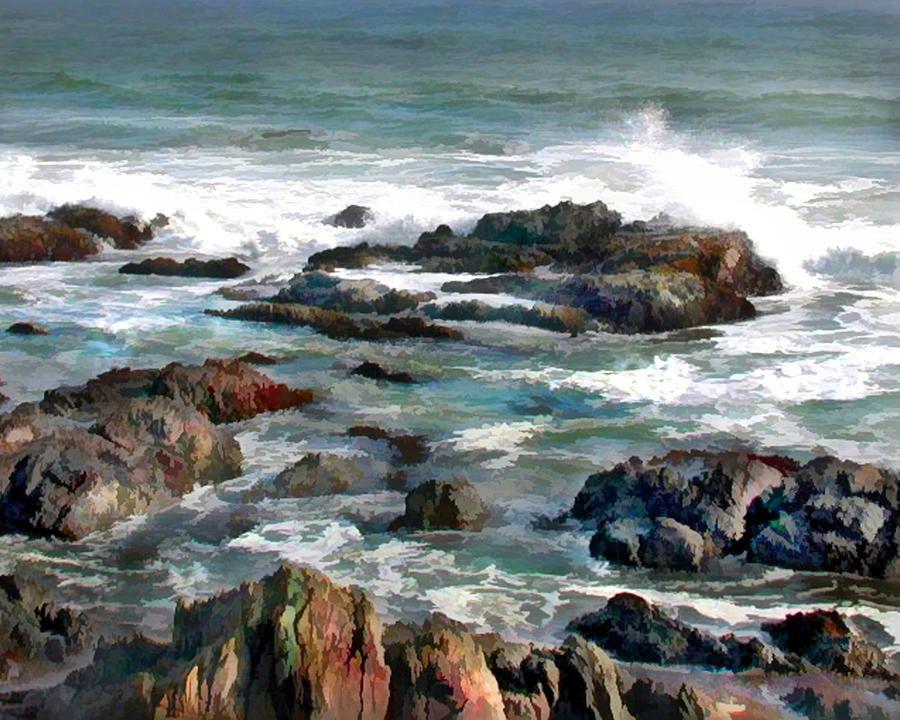 Rocky Ocean Shoreline Two By Elaine Plesser Watercolor Ocean Ocean Art Ocean Painting
