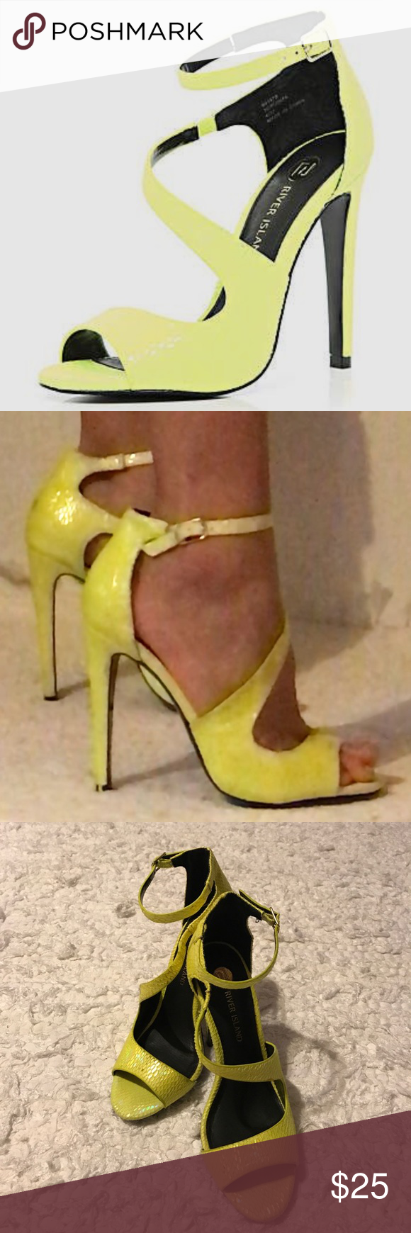 7beb3bc83c River Island Yellow Asymmetric Sandals Gently used River Island stunning  bright yellow asymmetric stiletto sandals. 4.2 inch heel. Size 8.