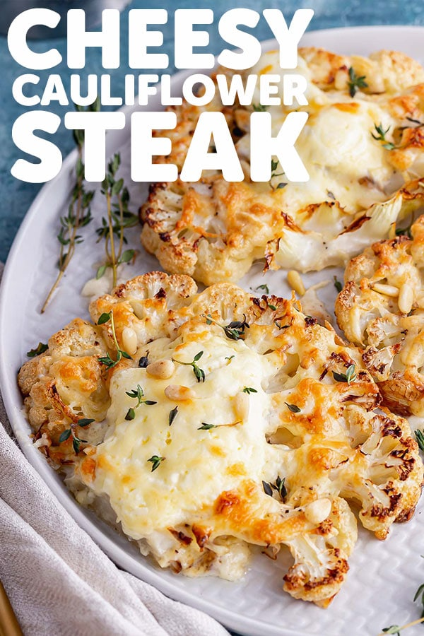 Cheesy Cauliflower Steak with Pine Nuts