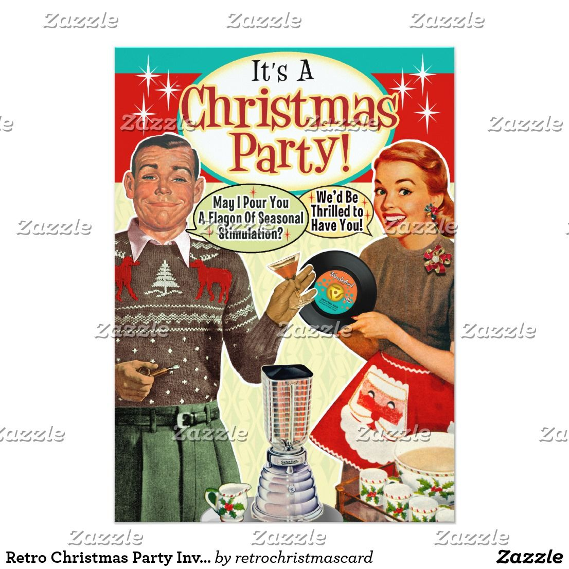 Retro Christmas Party Invitations | Vintage christmas party and ...