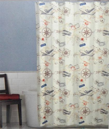 Vintage Travel Fabric Shower Curtain Maytex Airplanes Compass Postmark Jacquard 22