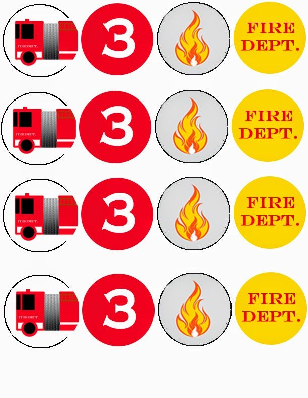 Free Printable Firetruck Birthday Cupcake Toppers Birthday Party