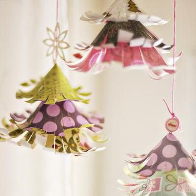 Hanging Paper Trees Decorating With Paper Paper Christmas Tree