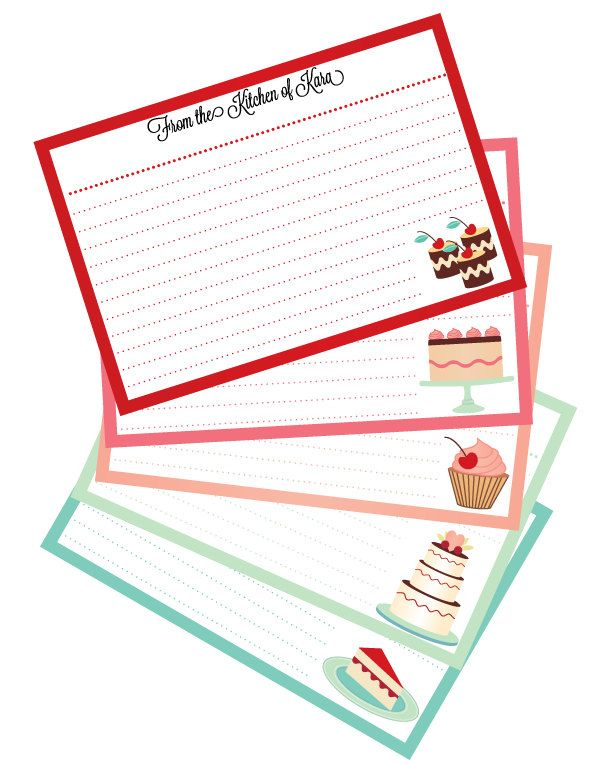 Dessert Themed Personal Recipe Cards