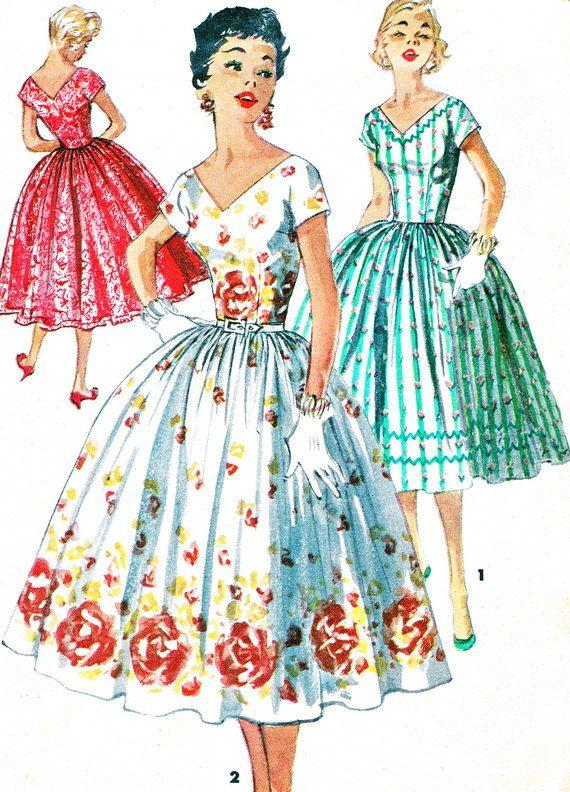 1950s Dress Pattern Simplicity 1159 Full Skirt Evening Dress V