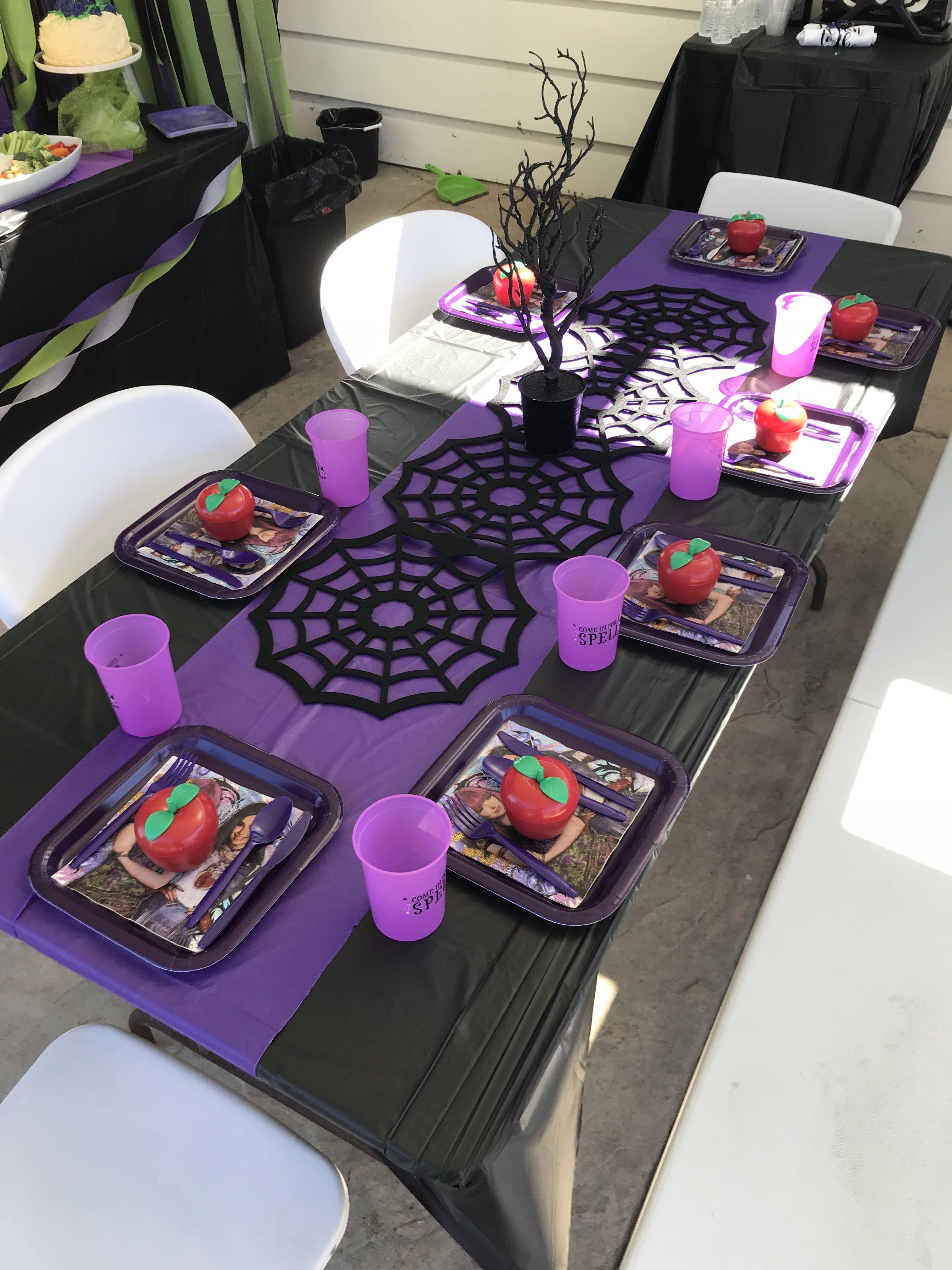 Descendants Theme Table In 2019 Halloween Party Decor
