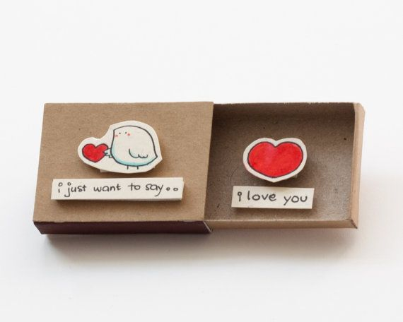 *Will NOT make it by Valentines Day with Standard Shipping. Please select Priority Shipping at check out if you wish to receive this by Feb 14* Cute Valentines Day Card - Cute love card - little bird This listing is for one matchbox. This is a great alternative to a anniversary card.