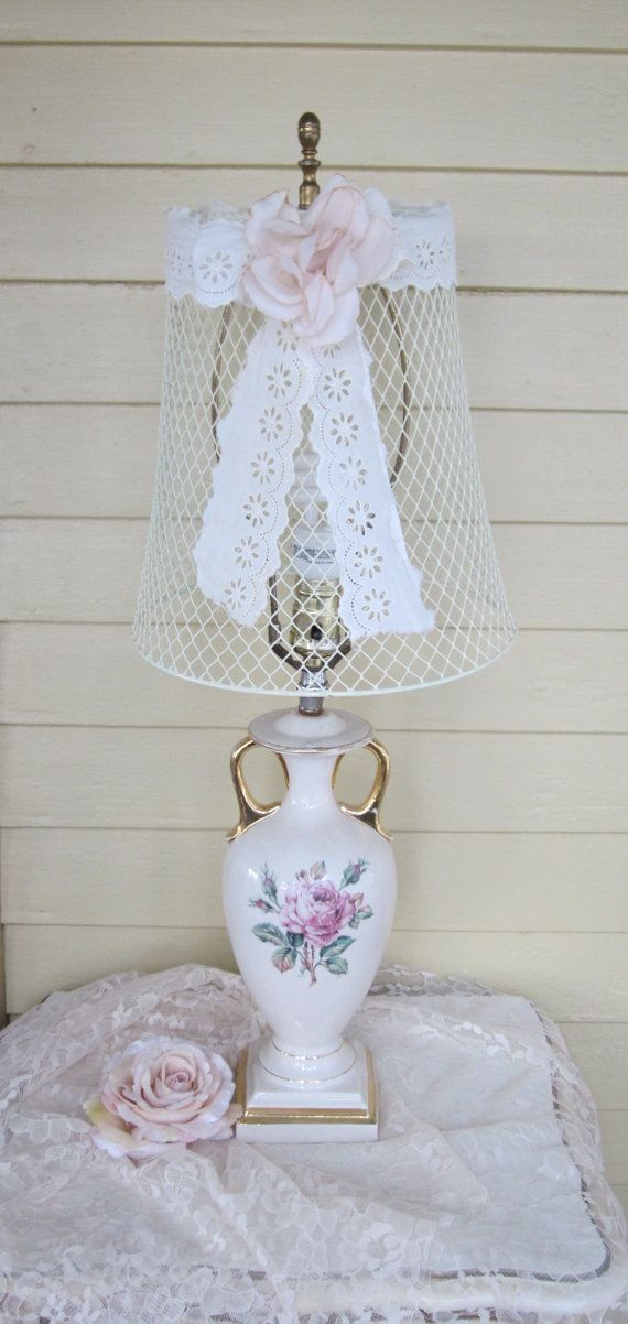 Shabby chic wire lampshade chicken wire french by fannypippin shabby chic wire lampshade chicken wire french by fannypippin greentooth Choice Image