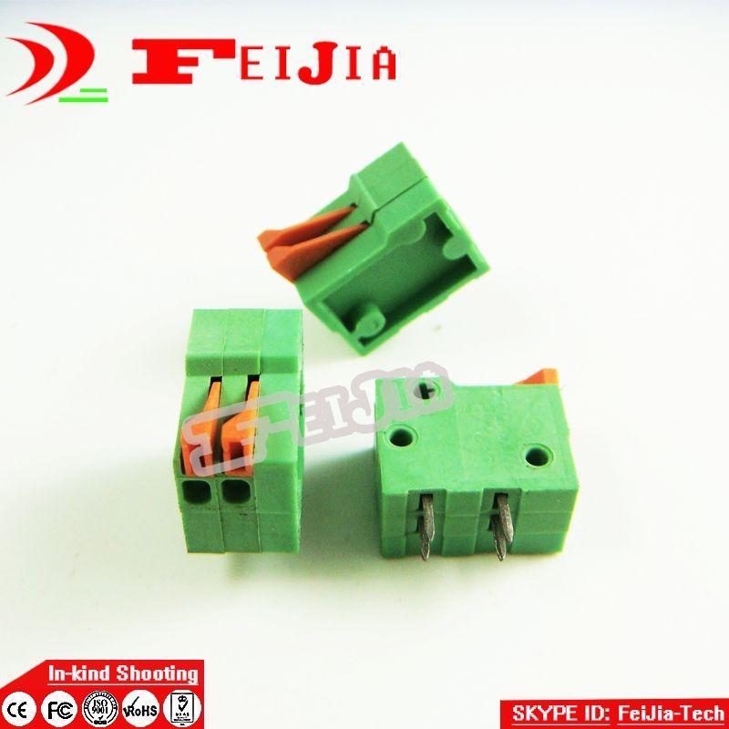 20 Teile/los 141R-2.54-2P 2Pin PCB Frühling Terminal Block ROHS steckverbinder Rastermaß 2,54mm Kostenloser versand