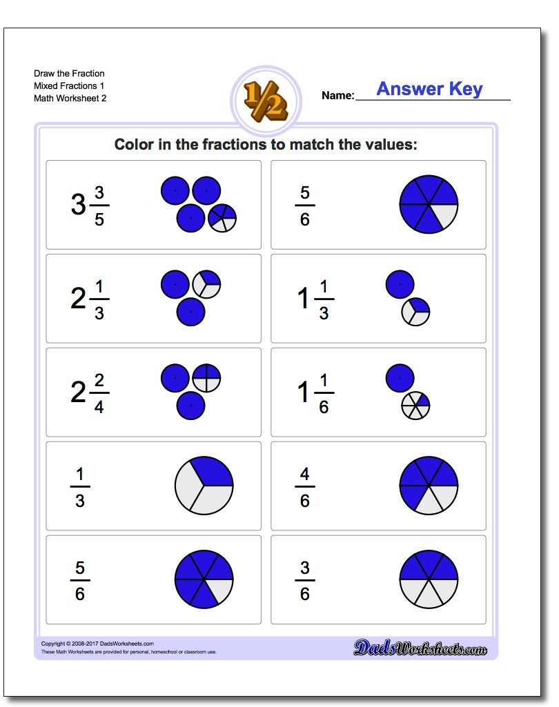 Writing Mixed Fractions Worksheets #fraction #worksheets | Math ...