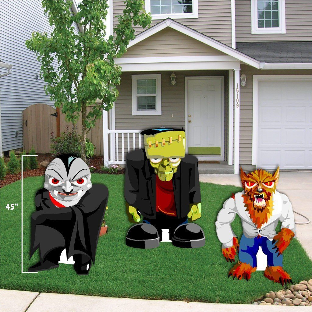 Halloween Yard Decoration Frankenstein, Werewolf, and Dracula Stand - Halloween Yard Decorations