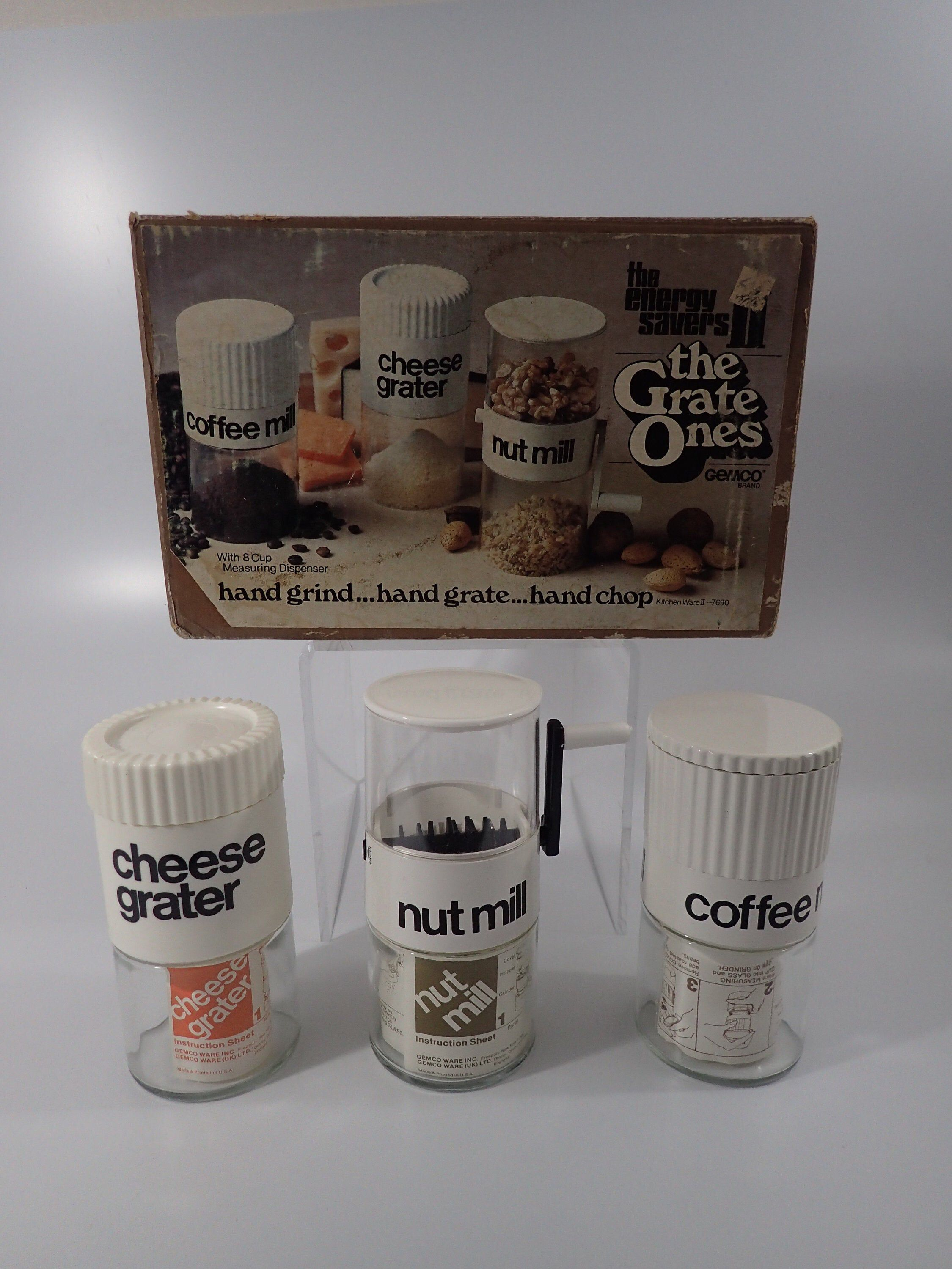 Coffee Mill | Nut Mill | Cheese Grater | Kitchen Ware II | Gemco 3 Pc set | Original Box | Vintage