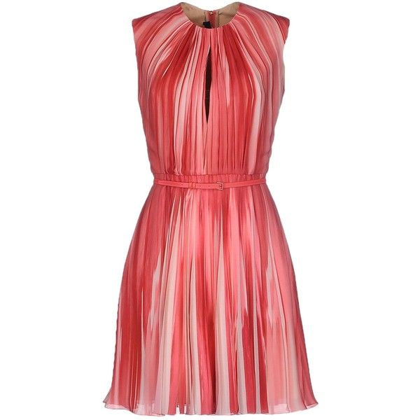 Elie Saab Short Dress (£1,377) ❤ liked on Polyvore featuring dresses, vestiti, light purple, zipper dress, lavender dress, red cocktail dress, red sleeveless dress and red dress
