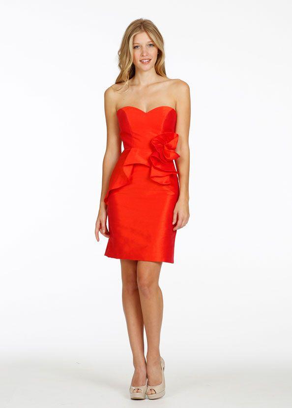 f11611d5ed115 綺麗なオレンジ ハートカット ショート タフタ スレンダーライン 披露宴 ドレス 二次会 ゲストドレス Bwjl0071