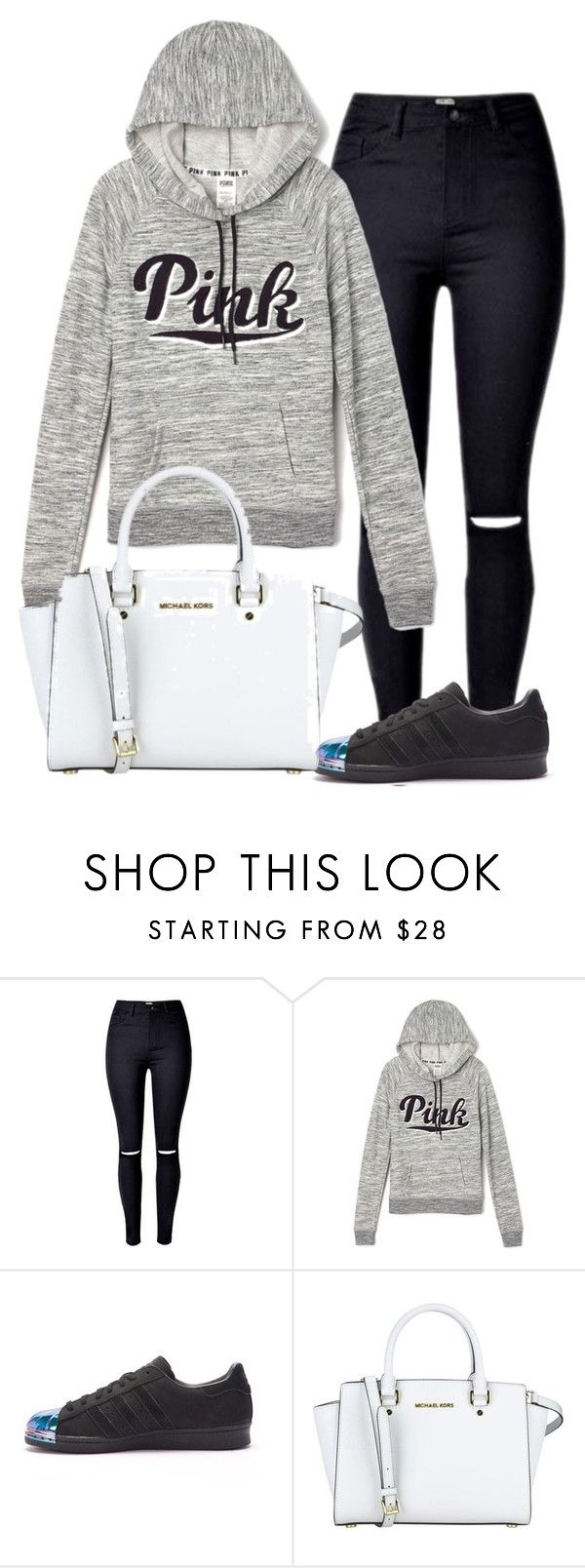 """""""MONDAY LOOK ! 😭"""" by fashiontimer ❤ liked on Polyvore featuring Victoria's Secret, adidas and MICHAEL Michael Kors"""