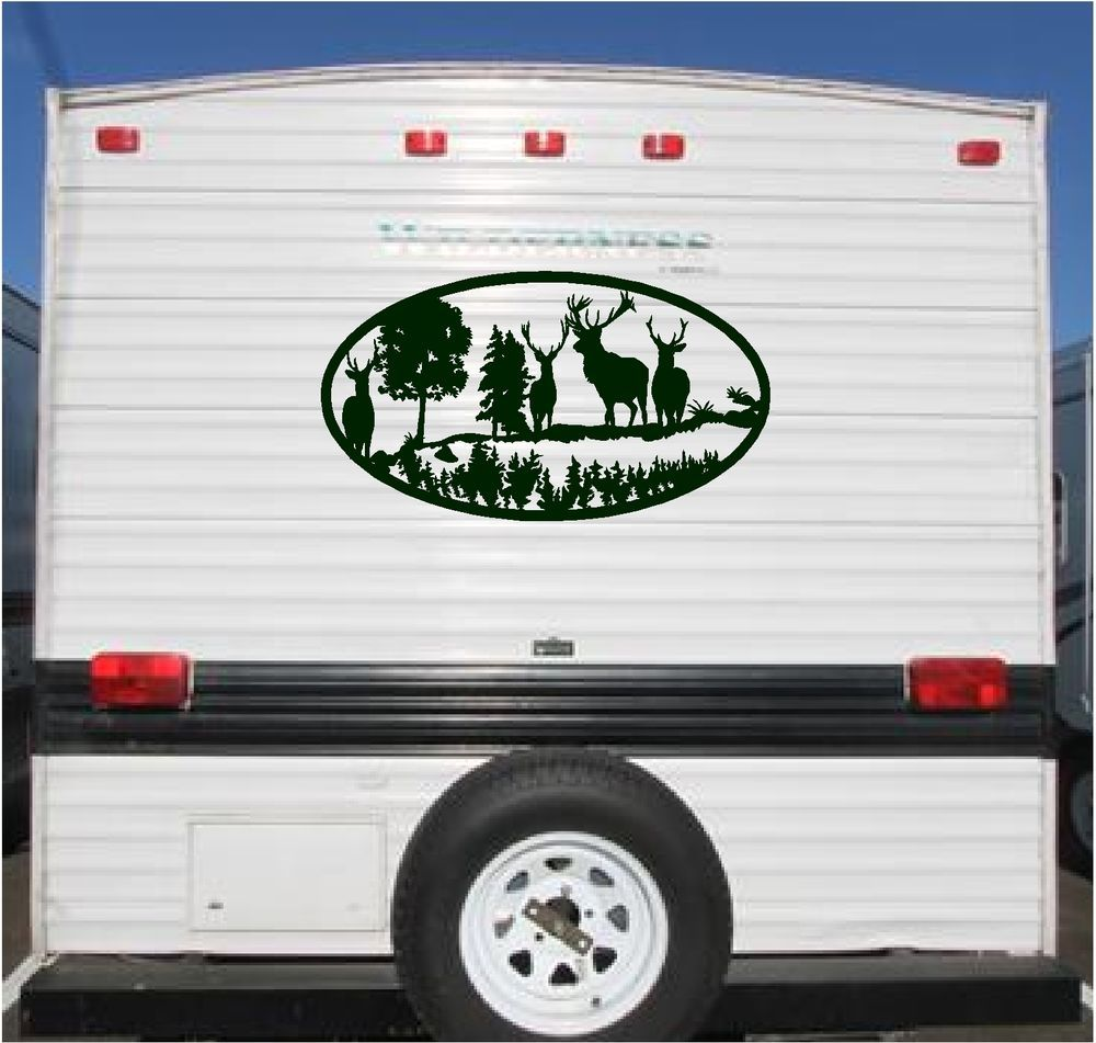 Deer landscape camper rv vinyl decal sticker 23x42 camper for Decals for rv mural
