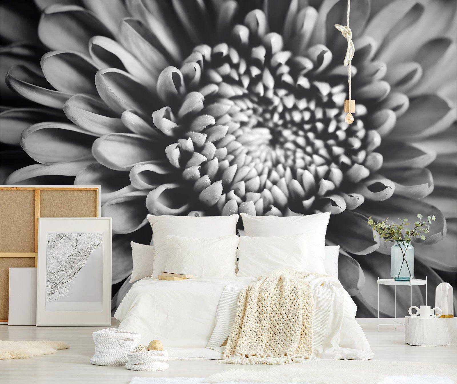 Black and white flower, peel and stick wallpaper, dark