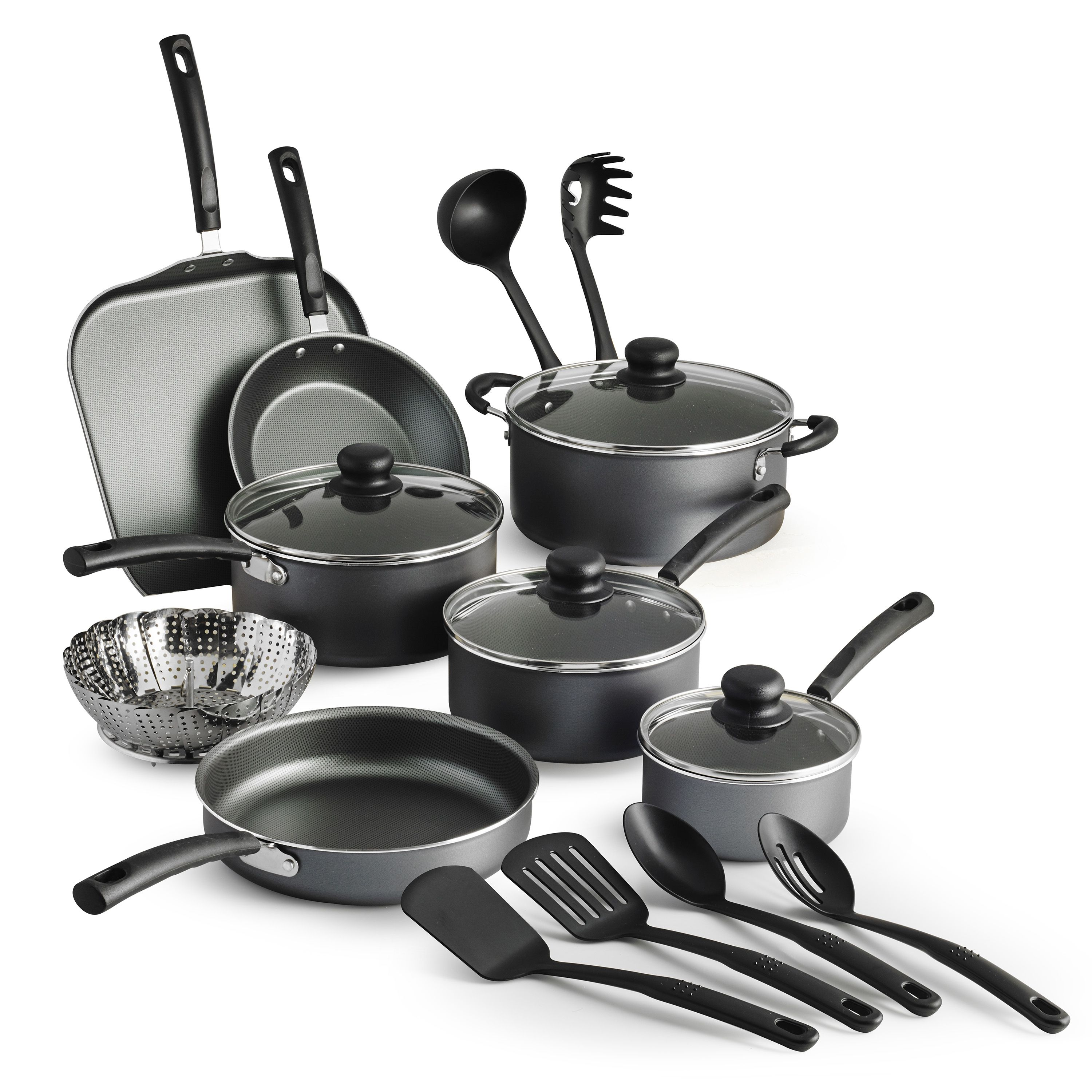 Tramontina Primaware Non Stick Cookware Set 18 Piece Walmart Com Ceramic Cookware Set Cookware Set Nonstick Cookware Set Stainless Steel