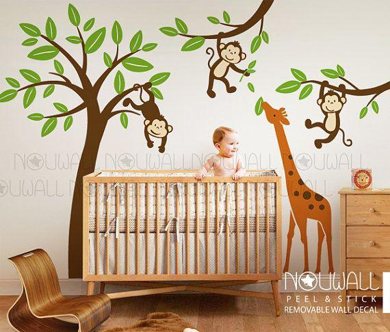 Monkeys Hanging On Tree With Giraffe Wall Decal Kids Nursery Decals Sticker Decor