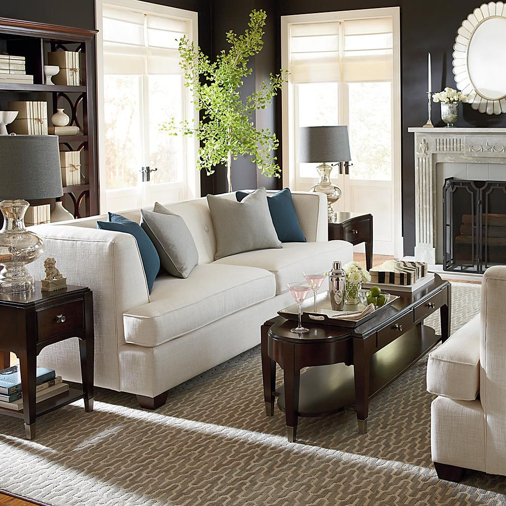 one sofa living room ideas colors for small nice arrangement with side tables next to and table behind the other