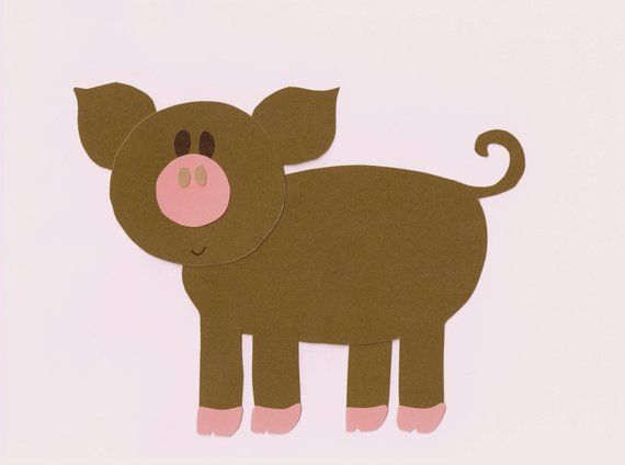 Farm pig 2 applique template pattern farm animal for quilts wall