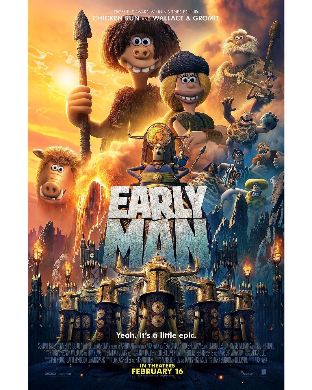 Earlymanus From The Creators Of Chicken Run And Wallace Gromit Comes The Next Epic Adventure For The Ages On February 1 Filme Sehen Disney Pixar Steinzeit