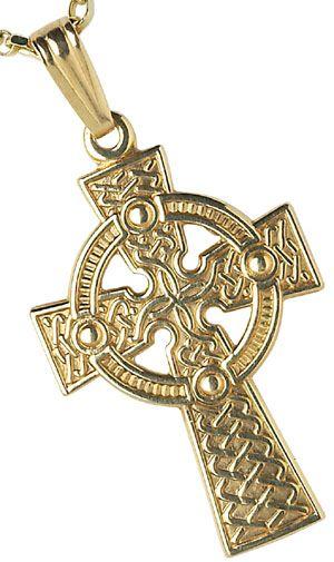 IrishJewelryOnlinecom Yellow Gold Large Traditional Celtic Cross