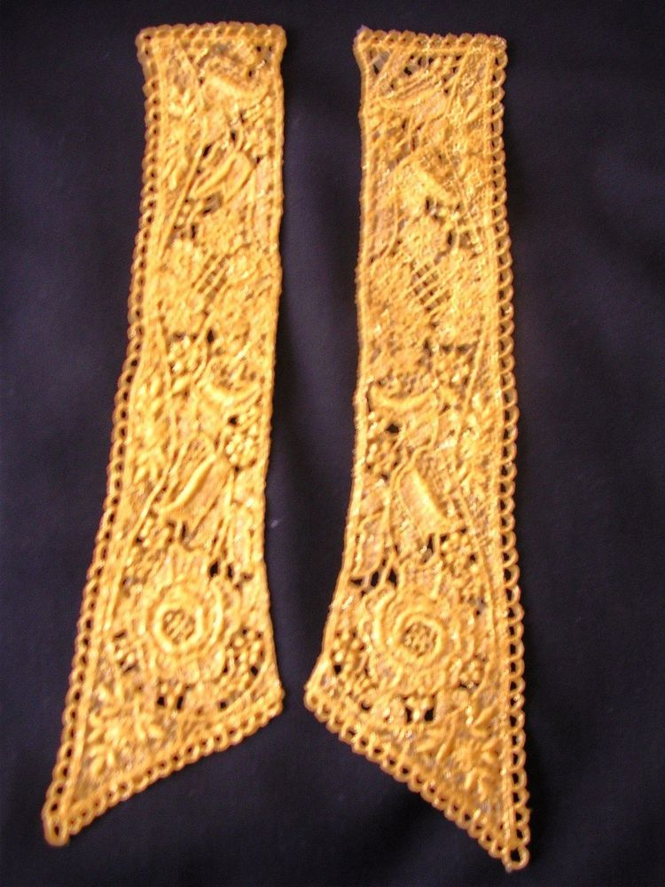 "Guipure Lace Gold Metallic Applique 11/"" X 2  Medallion VeniseLace G14"