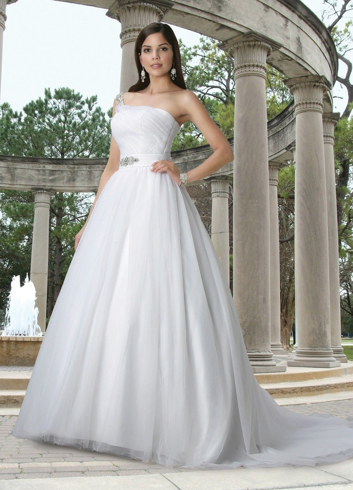 Asymmetrical One Shoulder Wedding Dress