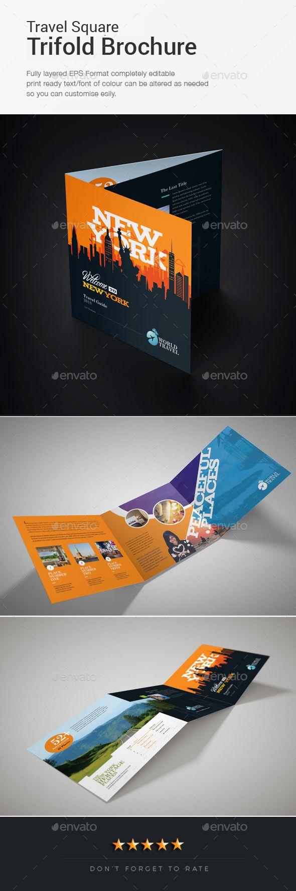 Travel Square Trifold Brochure Template Ai Illustrator Bitriquad
