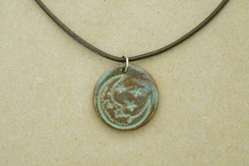 Blue moon necklace pottery tile jewelry moon and star pendant via blue moon necklace pottery tile jewelry moon and star pendant via silverloonjewelers aloadofball Images